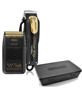 Wahl 5 Star Black/Gold Magic Clip Cordless Clipper & Finale Shaver Lithium Ion & Tool Box