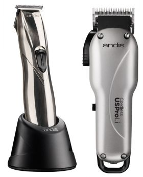 Andis Combo Professional Cordless US Pro Li Clipper And Slimline Pro Li T-Blade Hair Trimmer