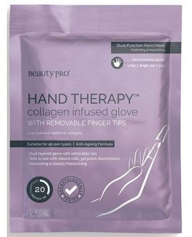 Beauty Pro Hand Therapy Collagen Infused Glove with Removable Finger Tips