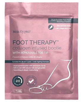 Beauty Pro Foot Therapy Collagen Infused Bootie with Removable Toe Tip