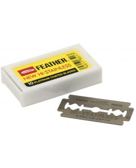 Feather Hi-Stainless Double Edge Platinum Coated Blades Safety Razor-10 Blades