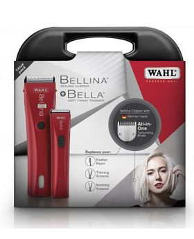 Wahl Combo Bellina With Texturising Blade & Bella Cordless Hair Clipper & Trimmer 1870-1590 (Red)