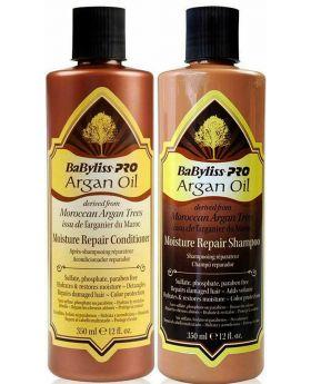 BaByliss PRO Moisture Repair Argan Oil Shampoo & Conditioner 350ml Duo