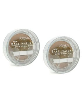 2x L'Oreal Bare Naturale Gentle Mineral Powder Soft Ivory Compact with Brush #408