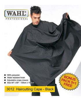 Wahl 100% Polyester & Water Resistant Salon Cape 5+1 3012 (Black)