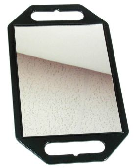 Black Rectangle Hairdressing Handheld Salon Mirror